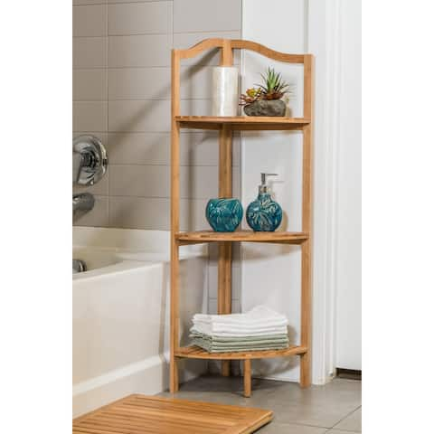 Zora Modern Multi-Purpose Brown Bamboo 3-Tiers Storage Shelf, 43.5 Inch Tall