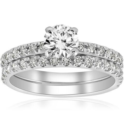 14k White Gold 1 1/4 ct TDW Diamond French Pave Single Row Bridal Set