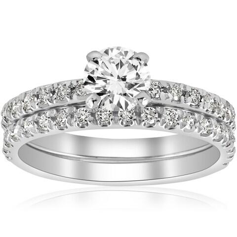 14k White Gold 1 1/4 ct TDW Diamond Engagement Ring Wedding Set French Pave Single Row (I-J,I2-I3)