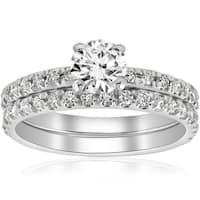 14k White Gold 1 1/4 ct TDW Diamond Engagement Ring Wedding Set French Pave Single Row (I-J,I2-I3)