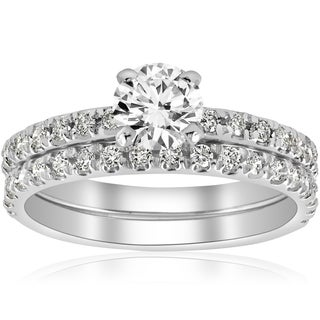 14k White Gold 1 1/4 ct TDW Diamond Engagement Ring Wedding Set French Pave Single Row (I-J,I2-I3) (More options available)