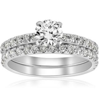 14k White Gold 1 4 Ct Tdw Diamond Engagement Ring Wedding Set French Pave