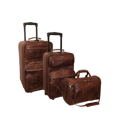 Amerileather Brown Python-Print Leather 3-piece Rolling Luggage Set