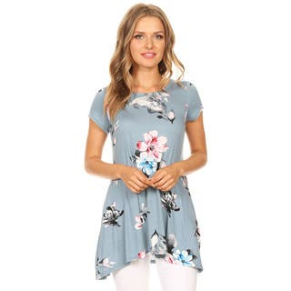 Women's Floral Pattern Short Sleeve Top|https://ak1.ostkcdn.com/images/products/16324873/P22687465.jpg?impolicy=medium