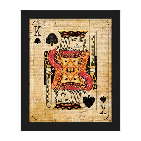 Vintage King Playing Card Framed Canvas Wall Art