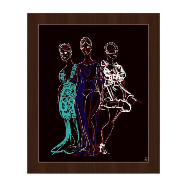 Fashionista Trio Red Sketch Framed Canvas Wall Art