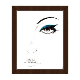 Cyan Eyeshadow Framed Canvas Wall Art Print