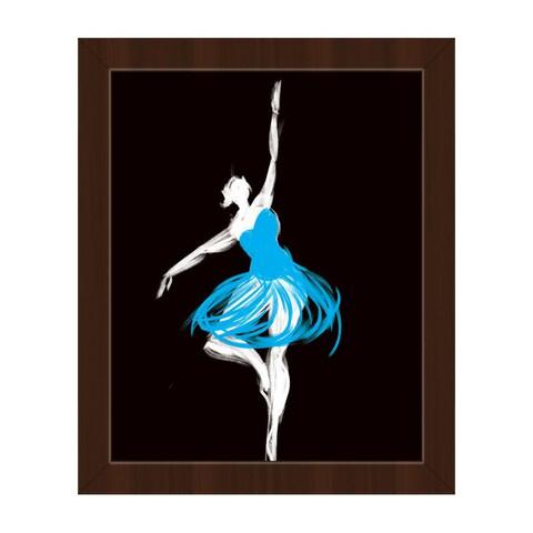 Cyan Ballerina Framed Canvas Wall Art Print