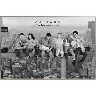 Friends - Black & White Poster in a Silver Metal Frame (36x24)