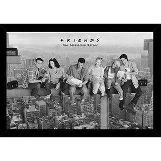 Friends - Black & White Poster in a Black Poster Frame (36x24)