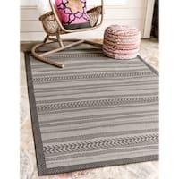 Unique Loom Lines Outdoor Area Rug - 8' x 11' 4