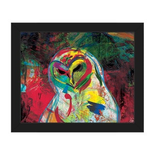 Spooky Colorful Owl Framed Canvas Wall Art Print