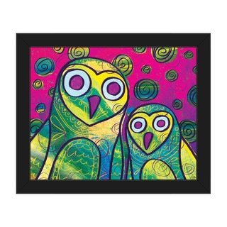 Wild Colorful Owls Framed Canvas Wall Art Print