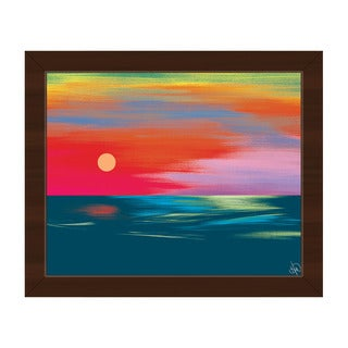 Scarlet Seascape Framed Canvas Wall Art Print