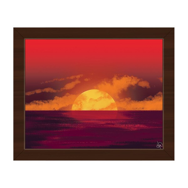 Amber Seascape Sunset Framed Canvas Wall Art Print