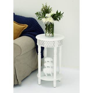Urban Designs California Collection Wood White Round Side Table|https://ak1.ostkcdn.com/images/products/16325494/P22688063.jpg?impolicy=medium