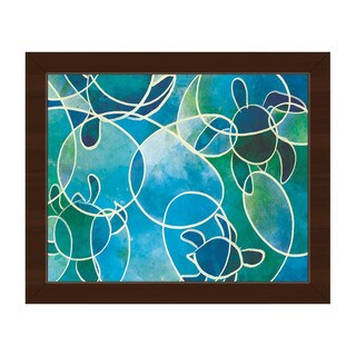 Sea Turtles Abstract Framed Canvas Wall Art Print