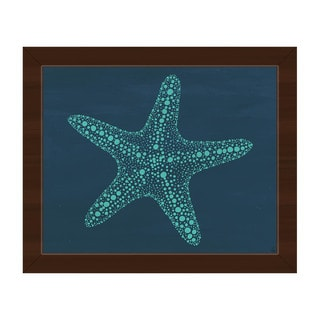 Starfish Dots in Teal Framed Canvas Wall Art Print