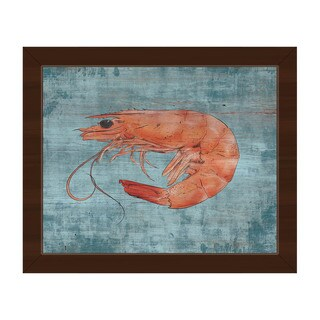 Fresh Shrimp on Blue Framed Canvas Wall Art Print