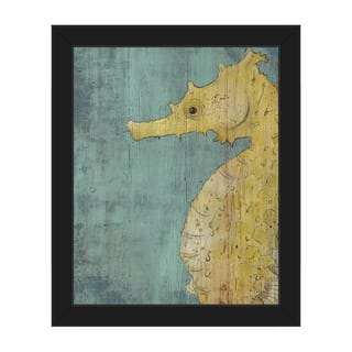 Big Seahorse -Yellow Framed Canvas Wall Art Print