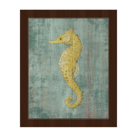 Bright Seahorse Framed Canvas Wall Art Print