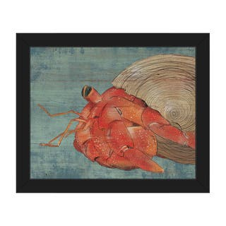 Big Hermit Crab -Blue Framed Canvas Wall Art Print