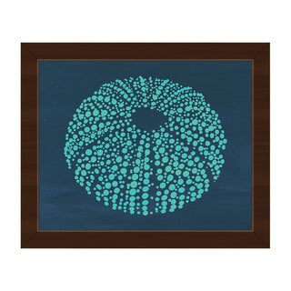 Urchin Dots in Teal Framed Canvas Wall Art Print