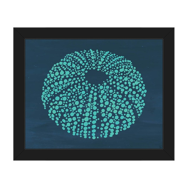 Urchin Dots in Teal Framed Canvas Wall Art Print