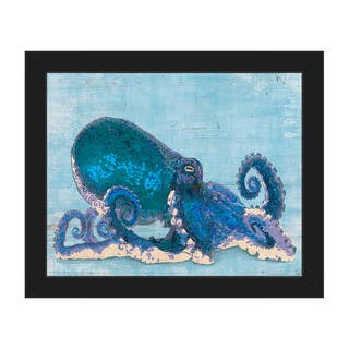 Dat Cool Blue Octopus Framed Canvas Wall Art Print