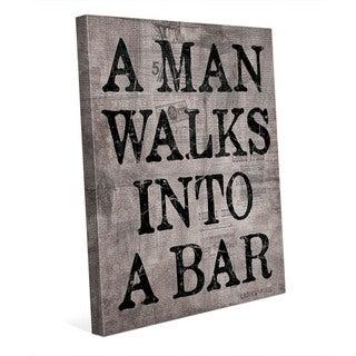 A Man Walks Into A Bar -Grey Wall Art Canvas Print
