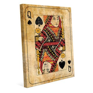 Vintage Queen Playing Card Wall Art Canvas Print