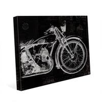 Vintage Motorcycle on Black Wall Art Canvas Print