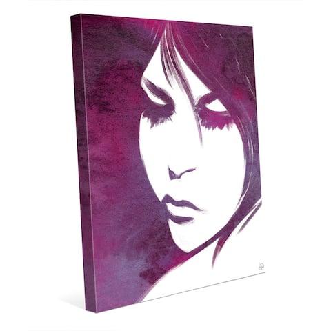 Violet Lit Face - Portrait Wall Art Canvas Print