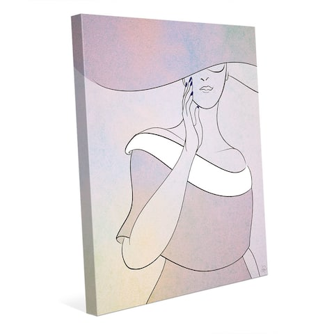 Lavender Woman with Hat Wall Art Print on Canvas