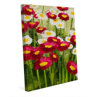 Spring Wildflowers in Red Wall Art Print on Canvas