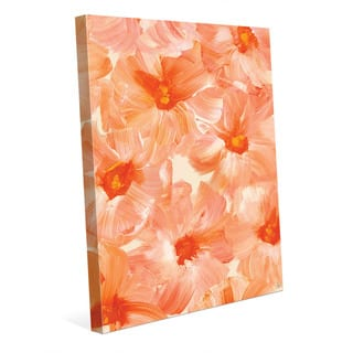 Brush Flowers in Peach Wall Art Print on Canvas