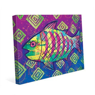 Wild Rainbow Happy Fish Wall Art Print on Canvas
