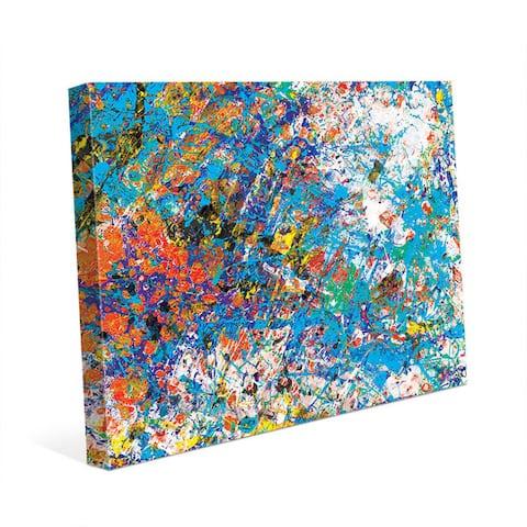 Mock Cerulean Blue Abstract Wall Art Canvas Print