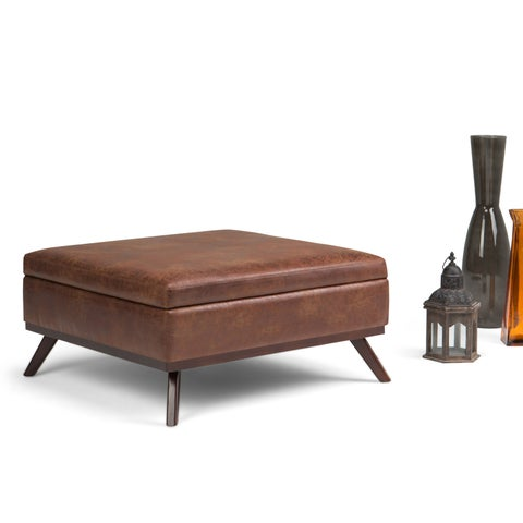 WYNDENHALL Ethan Large Mid Century Square Coffee Table Ottoman with Storage