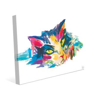 Watercolor Cat in Blue Wall Art Canvas Print