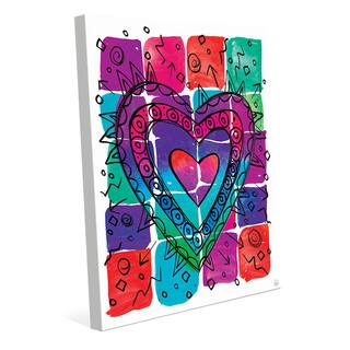 Wild Color Heart Wall Art Print on Canvas