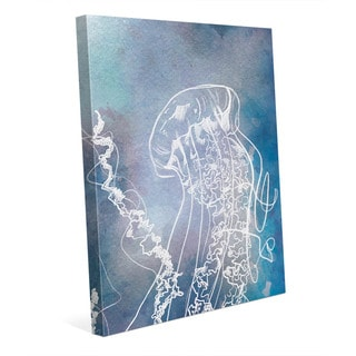 Close-Up Jellyfish Blue Wall Art Print on Canvas