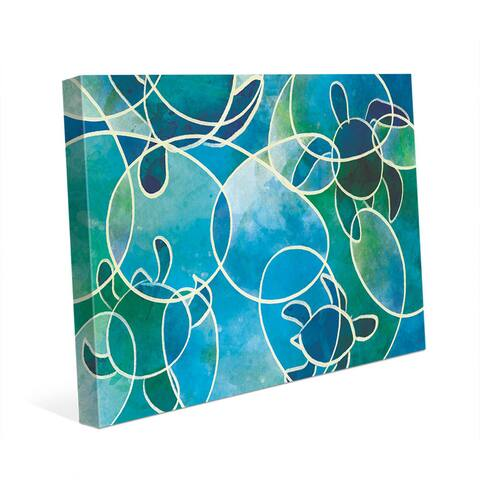 Sea Turtles Abstract Blue Wall Art Print on Canvas