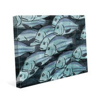School Of Fish -Dark Blue Wall Art Print on Canvas