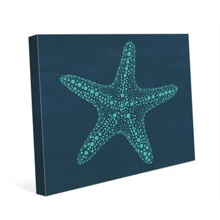 Starfish Dots -Teal Blue Wall Art Print on Canvas