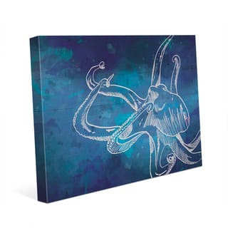 Octopus Swimming on Blue Wall Art Print on Canvas