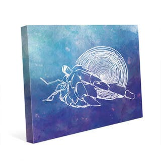 Hermit Crab on Blue Wall Art Print on Canvas