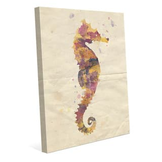 Artsy Watercolor Seahorse Wall Art Print on Canvas