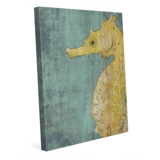 Big Seahorse in Yellow Wall Art Print on Canvas