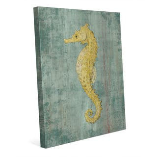 Bright Seahorse in Yellow Wall Art Print on Canvas